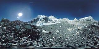 360 vr Everest Podstawowy obóz przy Khumbu lodowem Khumbu dolina, Sagarmatha park narodowy, Nepal himalaje EBC zbiory