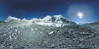 360 vr Everest Podstawowy ob?z przy Khumbu lodowem Khumbu dolina, Sagarmatha park narodowy, Nepal himalaje EBC zdjęcie wideo