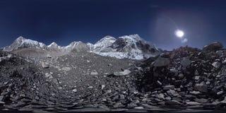 360 vr Everest Podstawowy ob?z przy Khumbu lodowem Khumbu dolina, Sagarmatha park narodowy, Nepal himalaje EBC zbiory