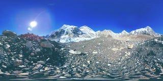 360 vr Everest Podstawowy ob?z przy Khumbu lodowem Khumbu dolina, Sagarmatha park narodowy, Nepal himalaje EBC zbiory wideo
