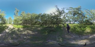 360 VR Family of tourists walking in green woods of Mauritius stock video footage