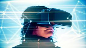 Girl playing vr video game, innovation virtual reality concept stock photo
