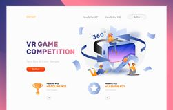 VR Gaming Website Header. Vector header template of vr gaming. Tiny peoples in goggles playing vr game. Modern bright concept of vr games and entertainment stock illustration