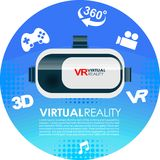 VR glasses 3d virtual reality icons. Virtual reality VR box glasses Royalty Free Stock Image
