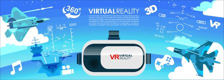 VR glasses 3d virtual reality icons Stock Photos