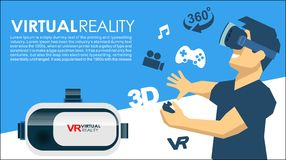VR glasses 3d virtual reality icons Royalty Free Stock Photo