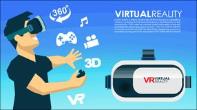 VR glasses 3d virtual reality icons. Virtual reality VR box glasses Stock Photography