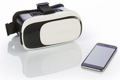 VR Glasses and smartphone on white Royalty Free Stock Photography