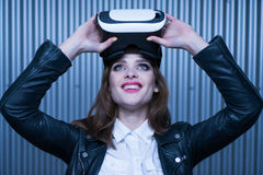 Vr glasses woman Royalty Free Stock Image