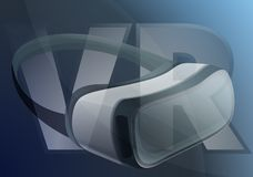 Vr goggles concept banner, cartoon style stock illustration