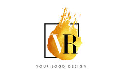 VR gouden Brief Logo Painted Brush Texture Strokes Royalty-vrije Stock Afbeelding