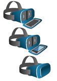 Vr headset in blue. Equipped with a mobile phone. New technology gadget for use in immersive 3d experiences royalty free illustration