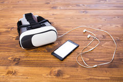 VR headset phone earbud Stock Photography