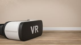 VR Headset in the Room. Black and White VR Virtual Reality Headset on Wooden Floor in the Room with Copy Space 3D Illustration vector illustration