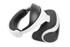 VR headset. Virtual reality glasses isolated on a white background. Professional gaming equipment. Innovative toys for gamers. A virtual reality helmet isolated Stock Photos