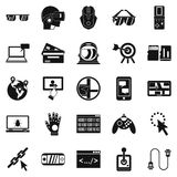 VR icons set, simple style. VR icons set. Simple set of 25 vr vector icons for web isolated on white background Royalty Free Stock Photography