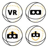 VR icons in sphere flat vector. Illustration. Set of virtual reality icons concept. VR logo. Conceptual icons of additional reality isolated on white background Royalty Free Stock Image