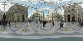 360 VR inom sikt av Galleria Umberto mig i Naples, Italien lager videofilmer