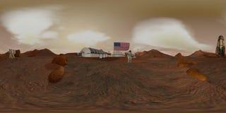 vr 360 Kolonie op Mars Astronaut die de Amerikaanse vlag groeten Het onderzoeken van Opdracht aan Mars Futuristische Kolonisatie  royalty-vrije illustratie