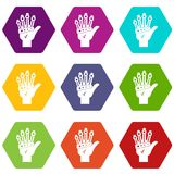 Vr manipulator icon set color hexahedron. Vr manipulator icon set many color hexahedron isolated on white vector illustration Royalty Free Stock Image