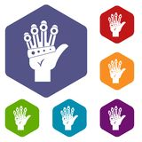 Vr manipulator icons set hexagon. Isolated vector illustration Stock Photo