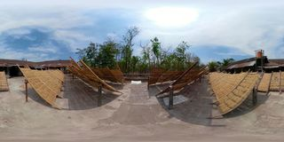 Noodle factory in Bantul, Yogyakarta, Indonesia vr360. Vr360 noodle drying in sun at noodle factory in indonesia Bantul, Yogyakarta, Indonesia stock video footage