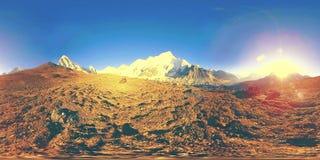 360 vr panoramiczny widok zmierzch nad Kala Patthar Wspina si? Everest i Khumbu dolin?, Nepal himalaje Gorak Shep zbiory wideo