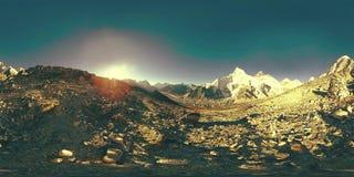 360 vr panoramiczny widok zmierzch nad Kala Patthar Wspina si? Everest i Khumbu dolin?, Nepal himalaje Gorak Shep zbiory