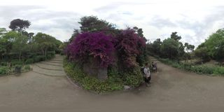 360 VR People relaxing in Park Guell, Barcelona stock video