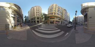 360 VR People on the street of Valencia, Spain. VALENCIA, SPAIN - JULY 15 2016: 360 VR video. View to the city buildings and people walking in the street in stock video