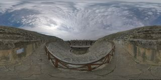 360 VR Roman amphitheatre in Hierapolis, Turkey. Inside view
