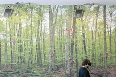 Vr sets at sonar festival forest wall. People test different virtual reality models and environments during sonar advanced music and arts in barcelona Stock Photos
