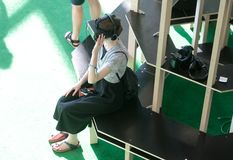 Vr sets at sonar festival. People test different virtual reality models and environments during sonar advanced music and arts in barcelona Stock Images