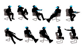 Vr sitting man set. Illustration of sitting in chair man wearing vr glasses isolated on blue background Stock Photo