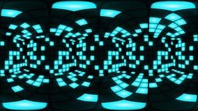 360 VR slösar öglan för vj för bakgrund för rastret för ljus för väggen för diskonattklubbdansgolvet stock video