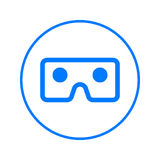 Vr szkła, rzeczywistości wirtualnej kurendy linii kartonowa ikona Round kolorowy znak Mieszkanie stylowy wektorowy symbol Zdjęcie Royalty Free