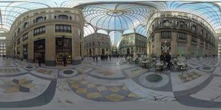 360 VR Timelapse av besökare som går i Galleria Umberto I italy naples stock video