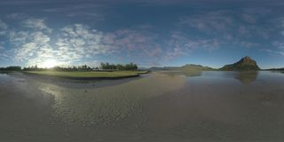 360 VR Timelapse of clouds sailing over Mauritius and carts driving on golf course stock video
