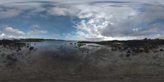 360 VR Timelapse of ocean and sailing clouds in Mauritius stock video
