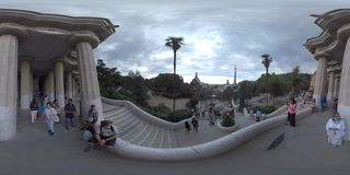 360 VR Tourists visiting Park Guell in Barcelona, Spain stock video footage