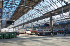 VR trains at Helsinki central station Royalty Free Stock Image