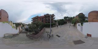 360 VR Uphill and downhill street with houses in Barcelona stock video footage
