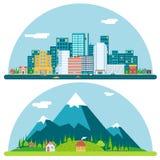 Vår Urban och bygdlandskapstad Arkivfoton