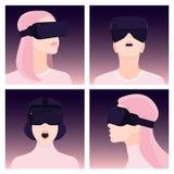 VR-värld Virtuell verklighetexponeringsglas också vektor för coreldrawillustration Arkivfoto
