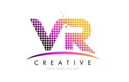 VR V listu loga projekta z Magenta Swoosh i kropkami R royalty ilustracja