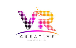 VR V r-Brief Logo Design met Magenta Punten en Swoosh royalty-vrije illustratie