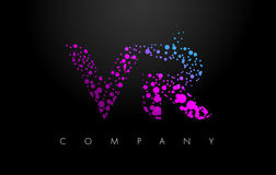 VR V R Letter Logo with Purple Particles and Bubble Dots. VR V R Letter Logo with Purple Blue Particles and Bubble Dots Design Vector Royalty Free Stock Image