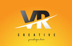 VR V R Letter Modern Logo Design with Yellow Background and Swoo. VR V R Letter Modern Logo Design with Swoosh Cutting the Middle Letters and Yellow Background Royalty Free Stock Photo