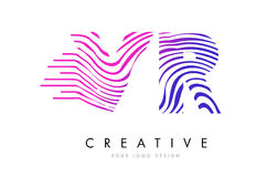 VR V R Zebra Lines Letter Logo Design with Magenta Colors Stock Photo