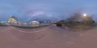 360 VR City of Arts and Sciences with green park, view in the dusk. Valencia